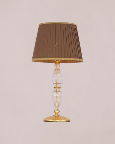 Table Lamps Kassandra 101 / LG / gold leaf / crystal table lamp / fabric mocha shade