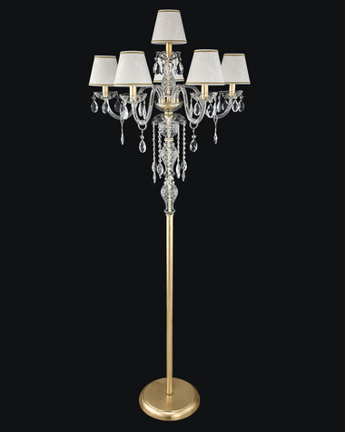 Floor lamps Olympia 104/FL 5+1 gold leaf pvc damasco shade crystal floor lamp