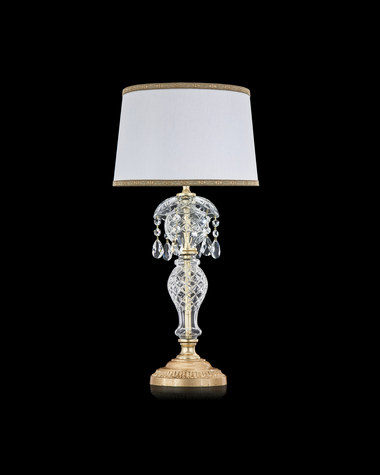 Table lamps Olympia 104 / LM / gold leaf / crystal table lamp / pvc white gold shade