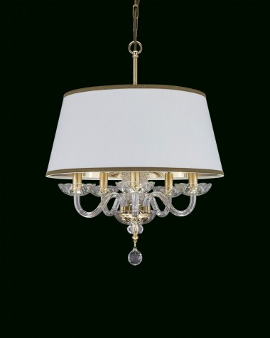 Pendant Lights Olympia 104 / SP 5 / gold leaf / crystal pentant light / pvc white gold shade