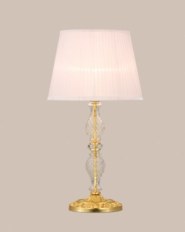 Table lamps Mirsini 105 / LG / gold leaf / crystal table lamp / organdy ivory shade