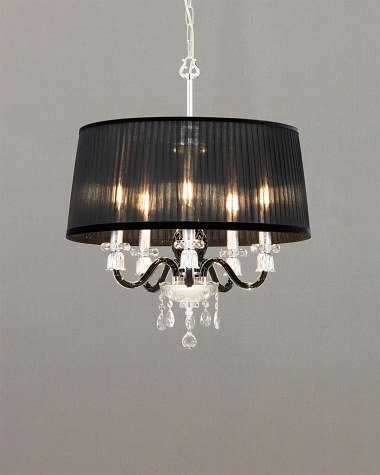 Pendant Lights Mirsini 105 / SP 5 / silver leaf / black /  crystal pendant light / organdy black shade