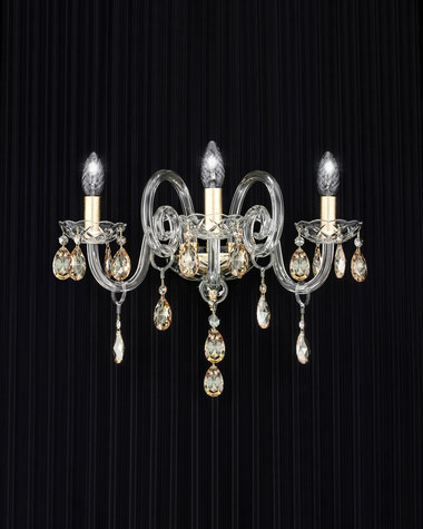 Wall lamps Iokasti 106/AP 3 gold leaf crystal wall lamp