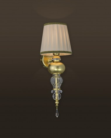 Wall lamps Juliana 108/AP 1 gold leaf crystal wall lamp/fabric beige shade