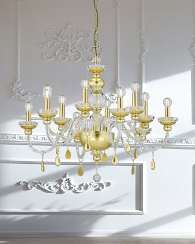 Chandeliers Juliana 108/CH 12 gold leaf crystal chandelier