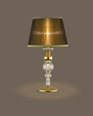 Table lamps Juliana 108 / LG / gold leaf / crystal table lamp / organdy bronze shade