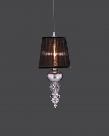 Pendant Lights Juliana 108/S 1 silver leaf crystal pendant light/organdy brown shade
