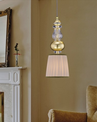 Chandeliers Juliana 108/S 3 gold leaf crystal pendant light/fabric beige shade
