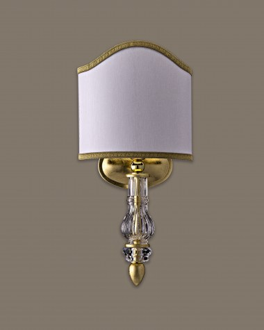 Wall lamps Dafne 109/AP 1  gold leaf crystal wall lamp/ pvc white gold shade