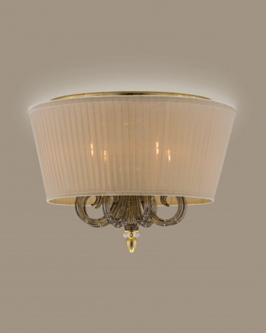 Ceiling Lamps Dafne 109/PLM gold leaf golden teak crystal ceiling lamp / organdy beige shade