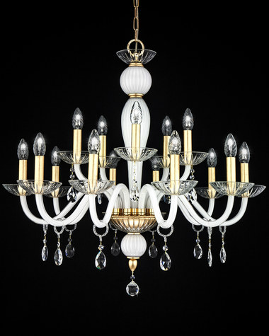 Chandeliers Leonie 112 / CH 15 / gold leaf / white / crystal chandelier