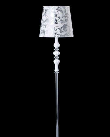 Floor Lamps Reina 114 / FL / chrome / white / crystal floor lamp / pvc silver leaf white shade