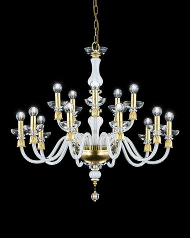 Chandeliers Reina 114/CH 10+5 gold leaf white crystal chandelier
