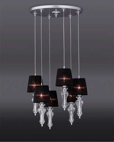 Pendant Lights Reina 114 / SPL 6 / chrome / crystal pendant light / organdy black shade