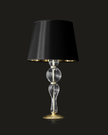 Table lamps Amanda 118/LG gold leaf crystal table lamp/pvc black gold shade
