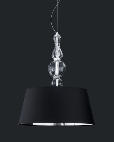 Pendant Lights Amanda 118 / SG 6 / silver leaf / crystal pendant light / pvc black chrome shade