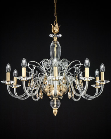 Chandeliers Contessa 120/CH 10 gold leaf crystal chandelier