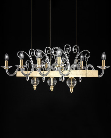 Linear Chandelier Contessa 120 / RL 8 / gold leaf / crystal linear chandelier