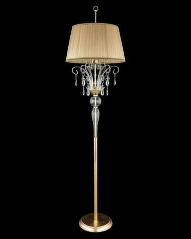 Floor Lamps Contessa 120 / FL / gold leaf / crystal floor lamp / organdy beige shade