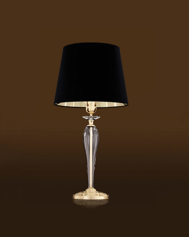 Table Lamps Contessa 120 / LG / gold leaf / crystal table lamp / pvc black gold shade