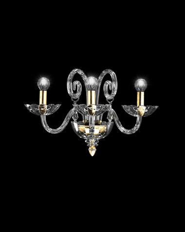 Wall lamps Venere 122/AP 3 gold leaf crystal wall lamp