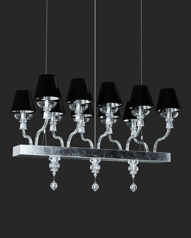 Linear Chandelier Reina 114 / RL 10 / silver leaf / linear crystal chandelier / pvc black chrome shade