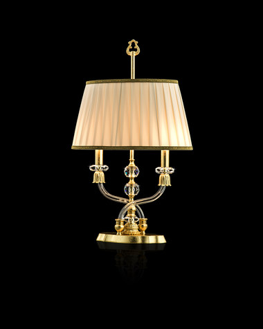 Table Lamps Elizabeth 125 / LM / gold leaf / crystal table lamp / fabric beige shade