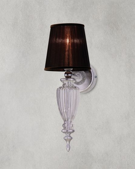 Wall Lamps Kassandra 101 / AP 1 / silver leaf / crystal wall lamp / organdy brown shade