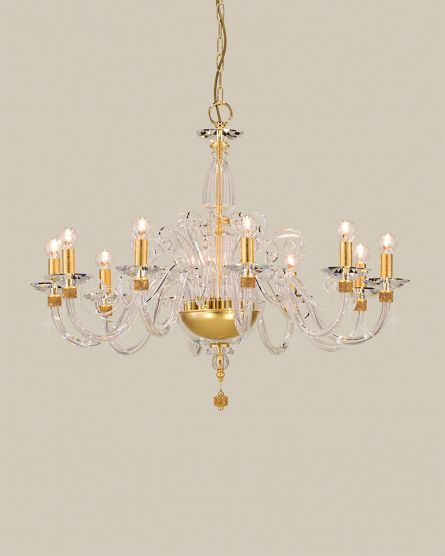 Chandeliers Kassandra 101 / CH 10 / gold leaf / crystal chandelier View 2