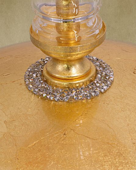 Table Lamps Kassandra 101 / LG / gold leaf / crystal table lamp / fabric mocha shade View 3