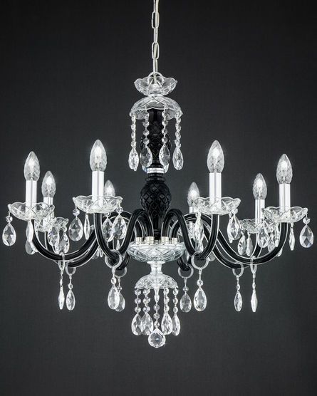 104ch 8 chrome black crystal chandelier with swarovski spectra chandeliers olympia 104ch 8 chrome black crystal chandelier view 1 aloadofball Image collections