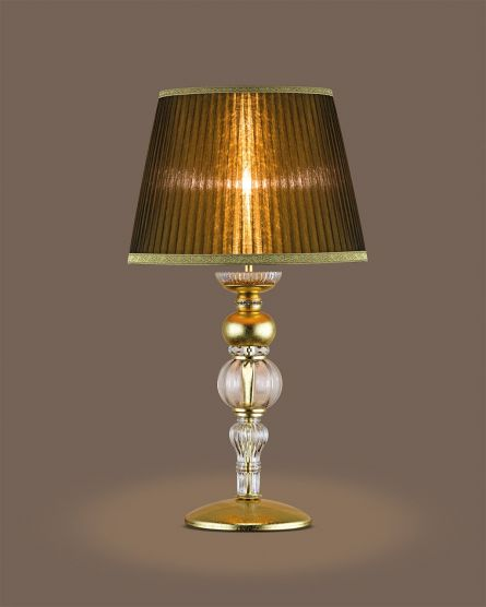 Table lamps Juliana 108/LG gold leaf crystal table lamp/organdy bronze shade View 1