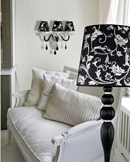 Floor Lamps Leonie 112 / FL / chrome / black / crystal floor lamp / pvc silver leaf black shade
