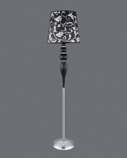 Chrome Black Crystal Floor Lamp