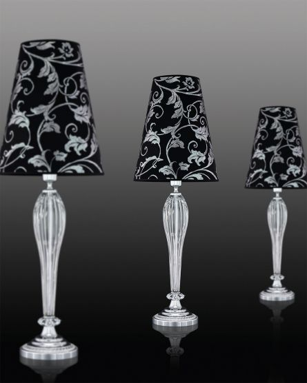 Table Lamps Leonie 112 / LG / chrome / crystal table lamp / pvc silver leaf black shade
