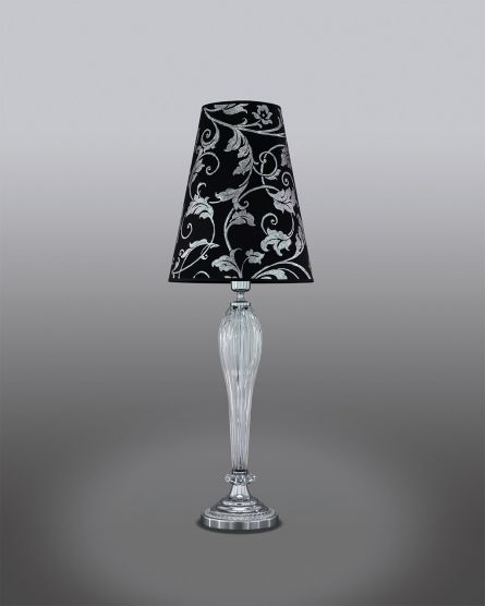 Table Lamps Leonie 112 / LG / chrome / crystal table lamp / pvc silver leaf black shade View 1