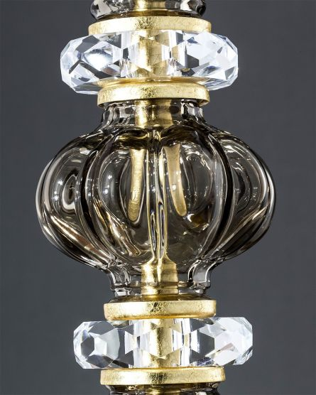 Table lamps Reina 114/LG gold leaf golden teak crystal table lamp/pvc black gold shade View 2