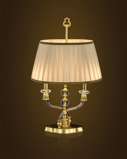 Table lamps Elizabeth 125/LM gold leaf crystal table lamp/fabric beige shade View 1