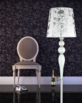 Floor Lamps Leonie 112 / FL / chrome / white / crystal floor lamp / pvc silver leaf white shade