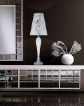 Table Lamps Leonie 112 / LG / chrome / white / crystal table lamp / pvc silver leaf white shade