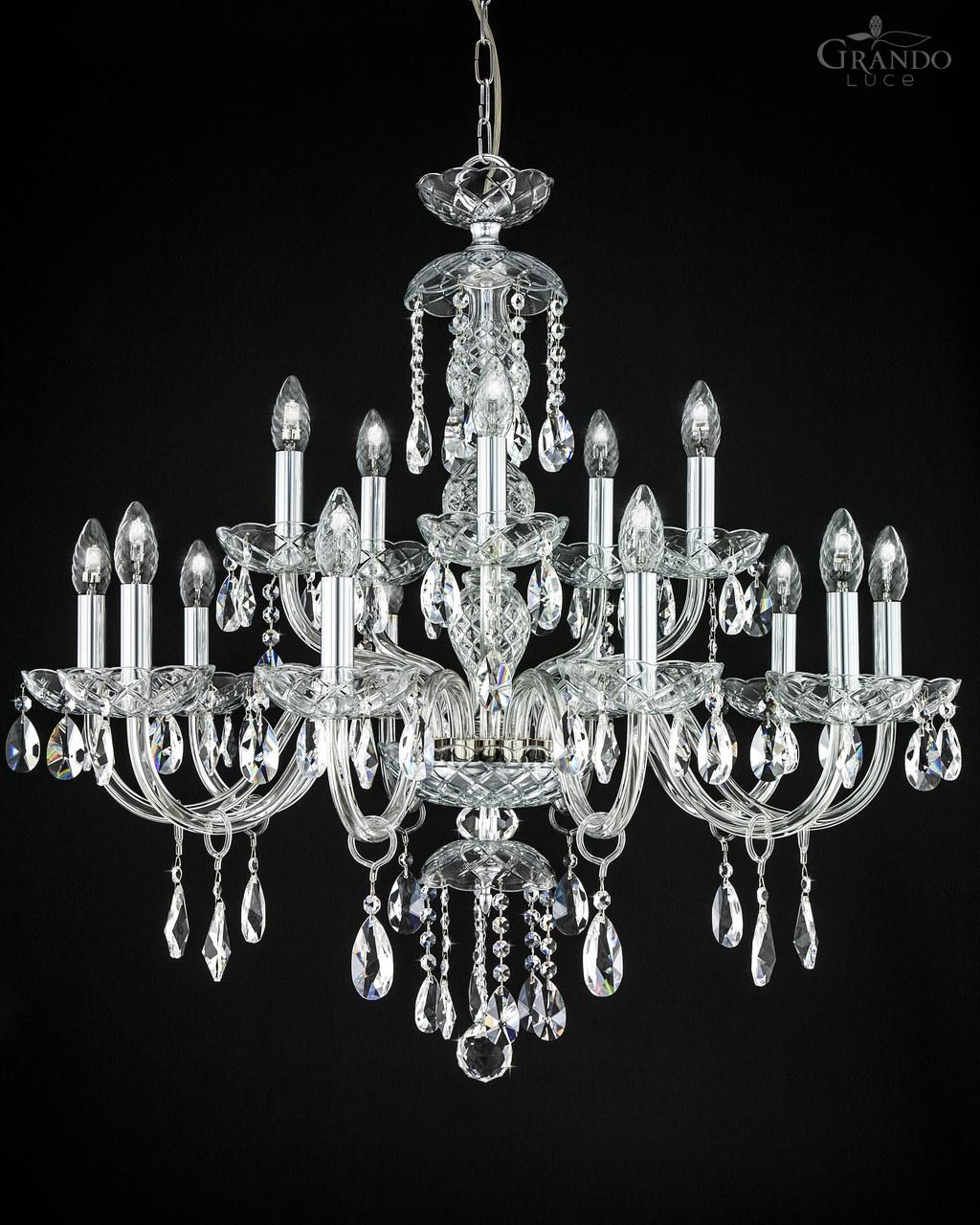 104ch 105 chrome crystal chandelier grandoluce transparent handmade classic crystal chandelier with chrome metal finish and delicate crystal trimmings arubaitofo Choice Image