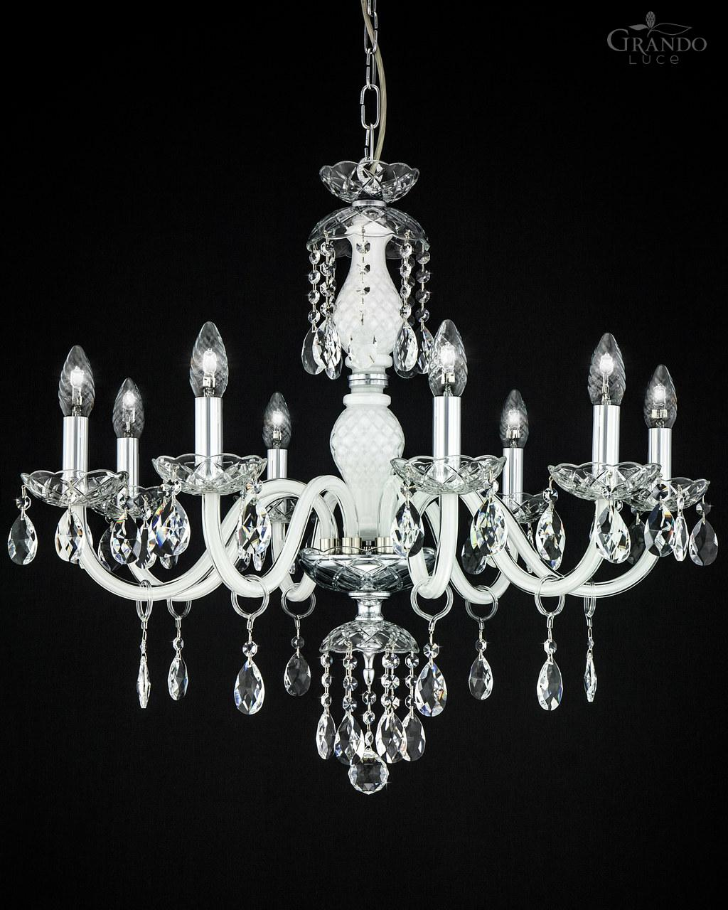 White Crystal Chandelier Combined With Chrome Finish Decorated Swarovski Spectra Ts