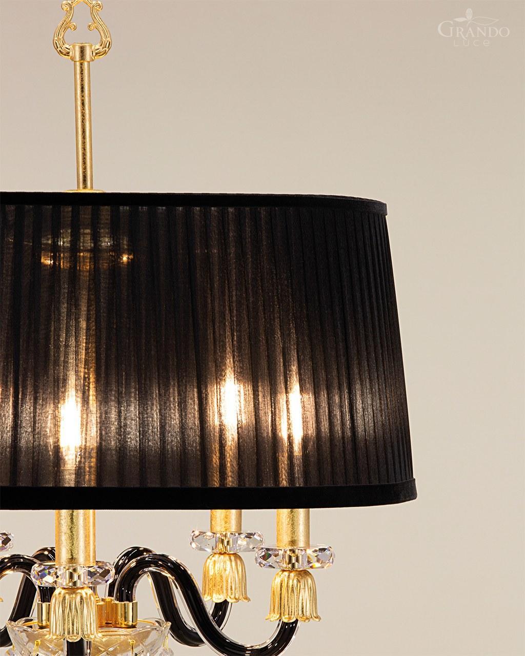 105 Fl 5 Gold Leaf Black Crystal Floor Lamp Organdy Black Shade Grandoluce