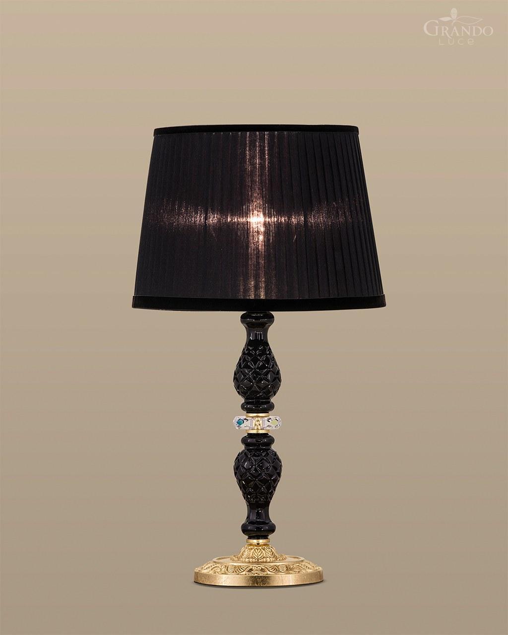 105 Lm Gold Leaf Black Crystal Table Lamp Organdy