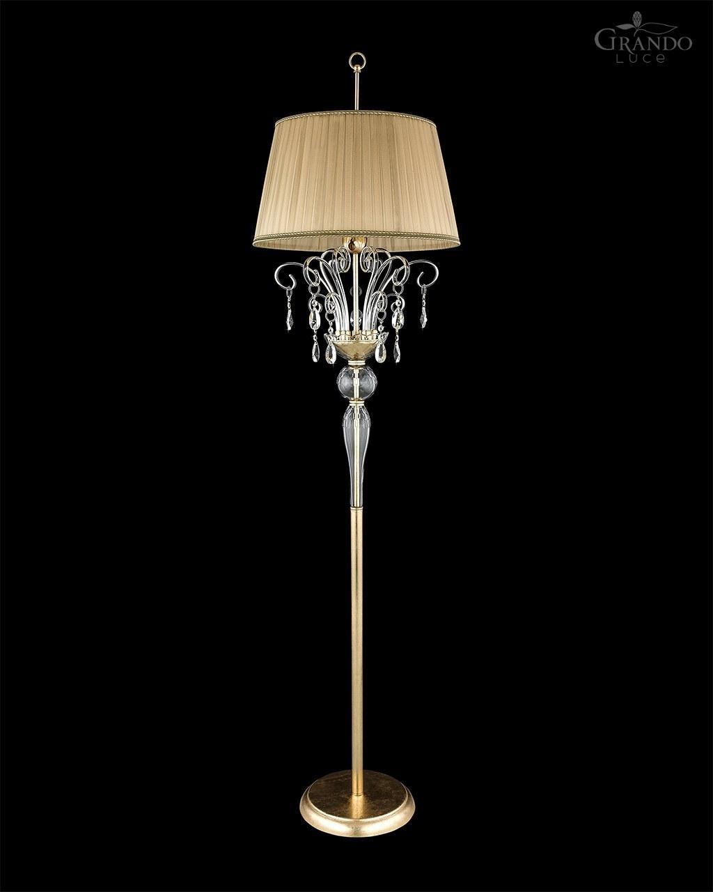 120 Fl Gold Leaf Crystal Floor Lamp Grandoluce