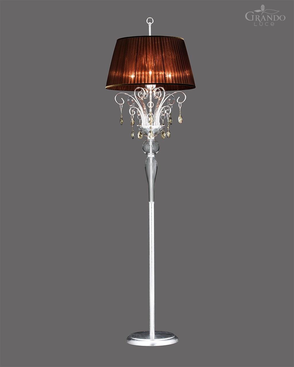 120 Fl Silver Leaf Crystal Floor Lamp Grandoluce