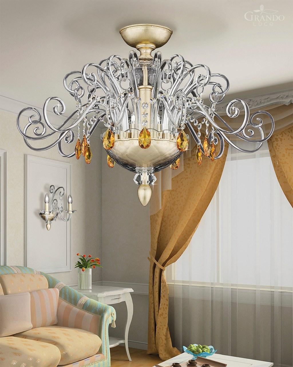 All White With Gold Leaf Ceiling And Degournay Coco: 120/PLM Gold Leaf Crystal Ceiling Lamp With Crystal